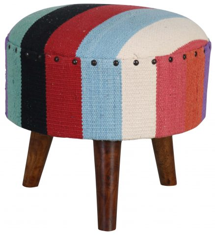 Block & Chisel round multi-coloured print cotton upholstered stool