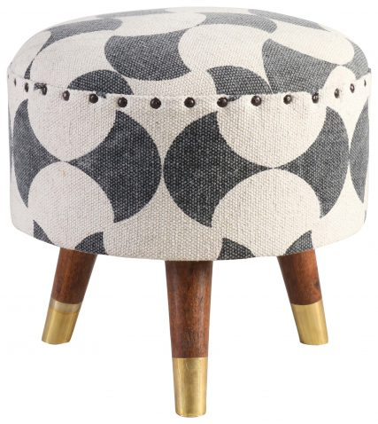Block & Chisel round black and off white print cotton upholstered stool