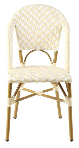 Yellow and white stripe parisian french cafe dining chair