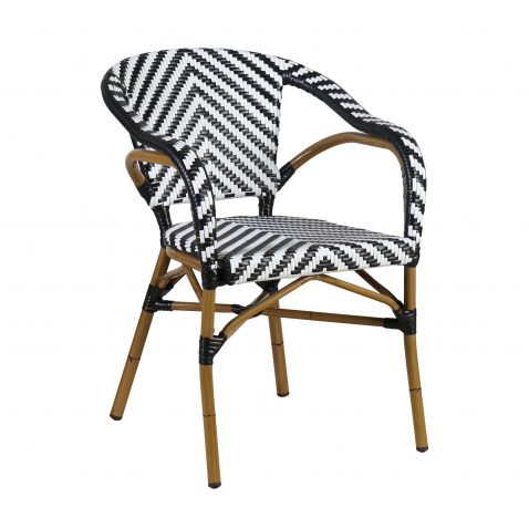 black and white synthetic armchair