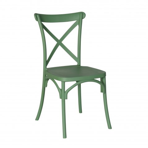 Green pvc cross back dining chair