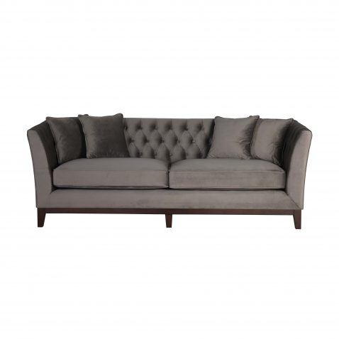 Karissa 3 seater Sofa with tufted detailed back and wooden legs
