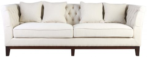 Block & Chisel old beige upholstered 3 seater sofa