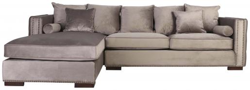 Block & Chisel champagne upholstered corner sofa