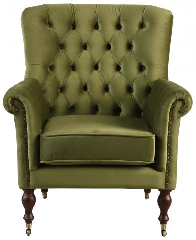 Block & Chisel green upholstered occasional chair on castors
