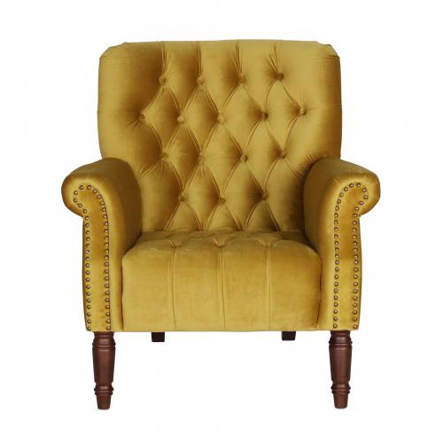 gold velvet occasional armchair