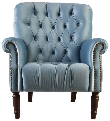 Block & Chisel sky blue velvet upholstered lounge chair