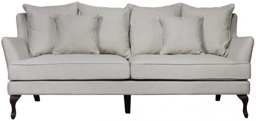 Block & Chisel cream linen upholstered 3 seater sofa