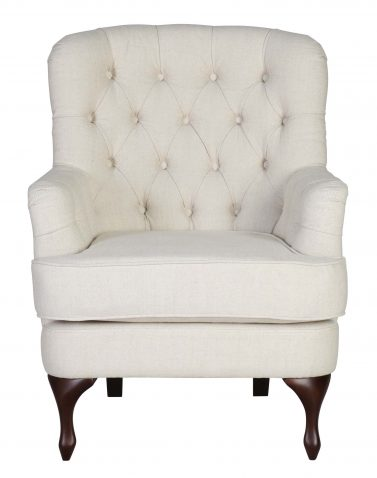 DOROTHY OCCASIONAL CHAIR in Beige fabric with tufted details and wooden legs