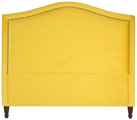 Block & Chisel yellow upholstered queen size headboard
