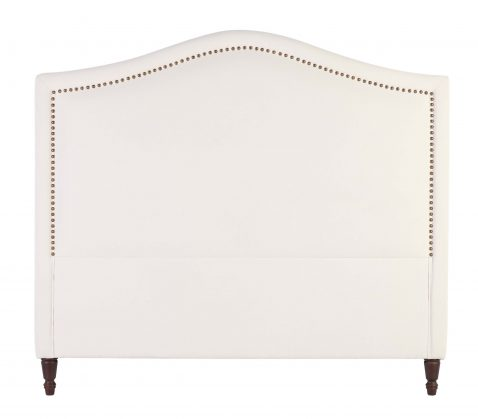 Grayson White headboard with nail head trim and rubber wooden feet