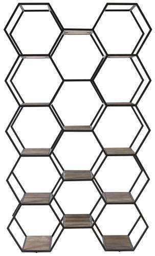 Block & Chisel recycled elm hexagonal bookshelf with iron frame