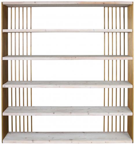 Block & Chisel recycled elm and brass iron bookshelf
