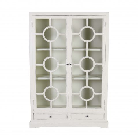 Block and chisel white display cabinet with glass doors
