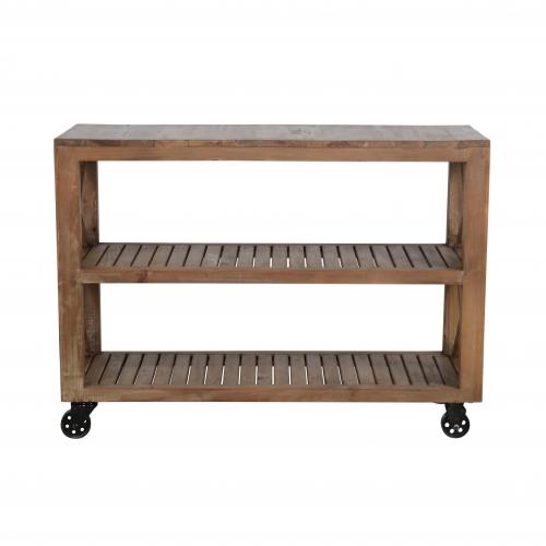 2 tier wooden slatted shelf on wheels
