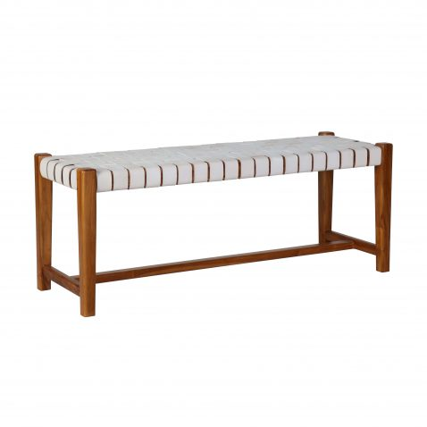 leather strap bench with teak frame