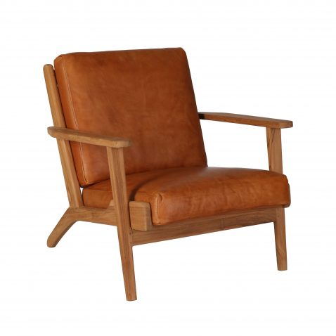 Teak frame armchair with loose leather cushions