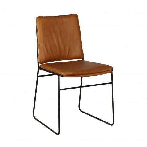 dining chair with metal frame and leather seat and back