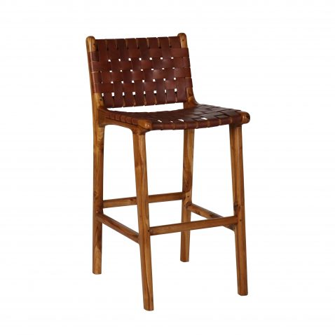 leather strap counter stool with teak frame