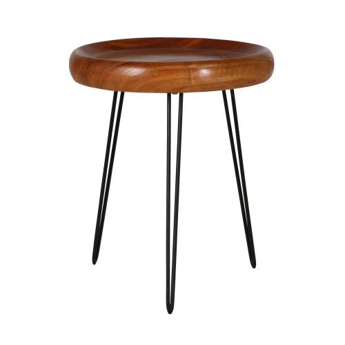 wood top side table with black metal legs