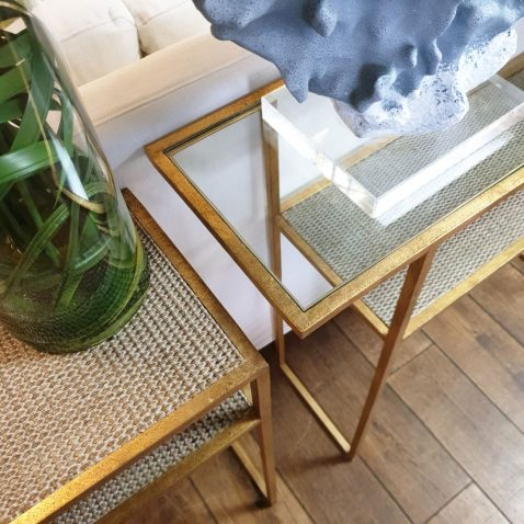 Set of 3 consoles, gold metal frame, glass and rattan top