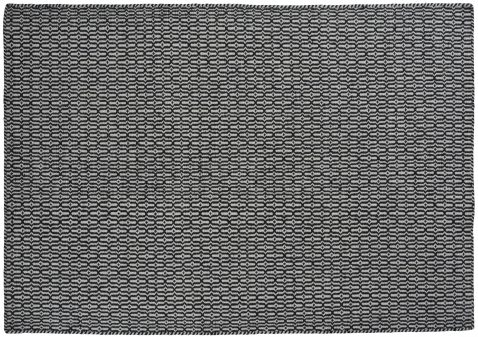 Block & Chisel stone coloured wool rug with black pattern detail
