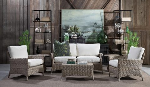 Outdoor rattan sofa set vibe shot