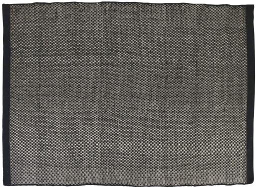 Block & Chisel black wool rug with black trim