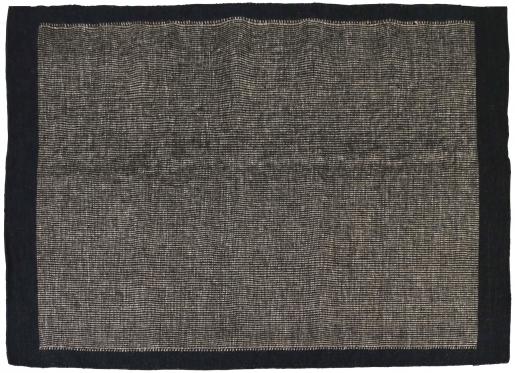 Block & Chisel brown wool rug with black trim