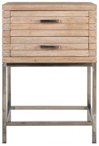 Block & Chisel fir wood bedside table with stainless steel base