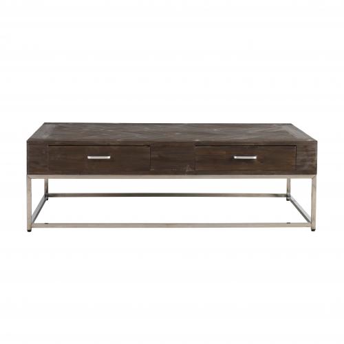 Fir wood coffee table on metal base