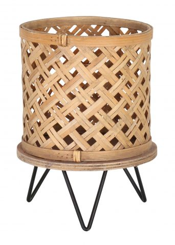 Planter pot with mesh bamboo detail and tripod stand