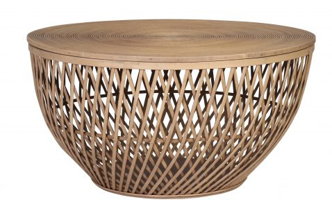 Yana - weaved rattan and bamboo round brown side table