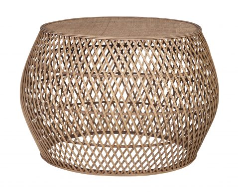 Erin - weaved rattan and bamboo round brown side table