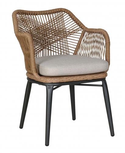 Classic modern weaved brown rattan armchair