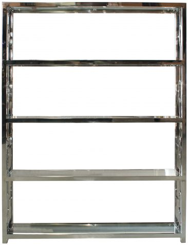 Block & Chisel 4 tier stainless steel & glass bookshelf