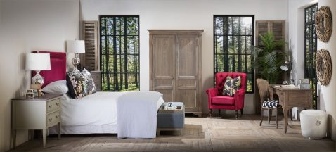 Block & Chisel red upholstered king size headboard