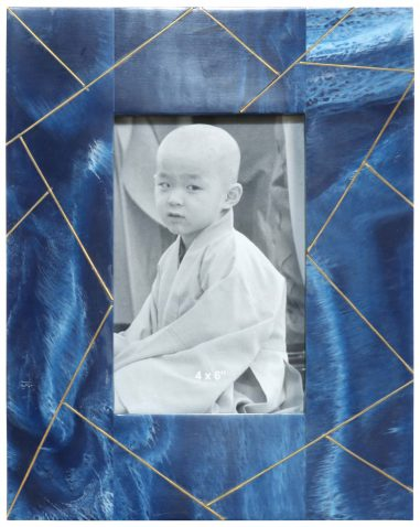 Block & Chisel blue photo frame with brass abstract line