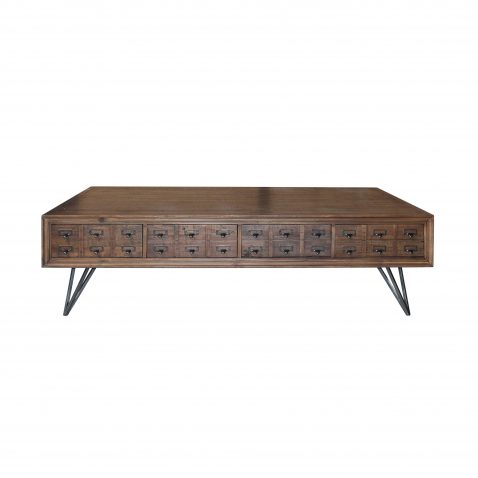 Industrial style coffee table with hairpin metal legs