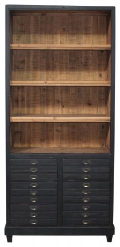 Block & Chisel Bookcase Old Fir Wood Fixed Shelf