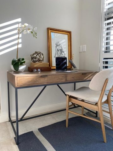 Block & Chisel antique weathered oak desk with matt black wrought iron base desk