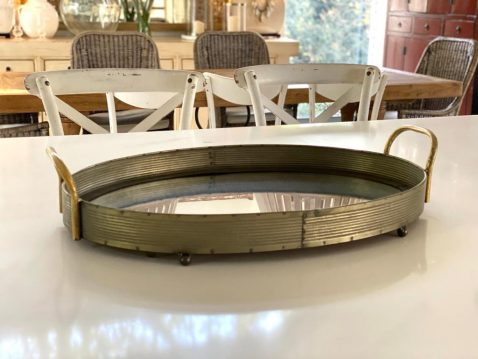 Block & Chisel oval iron tray with mirrored base