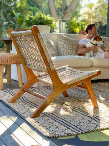Block & Chisel grey kubu rattan lazy chair with teak wood frame