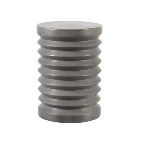 Block & Chisel round ridge natural concrete stool