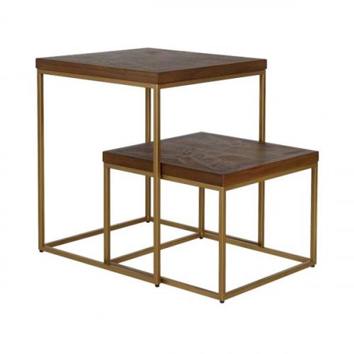 nesting table set oak and gold metal frame