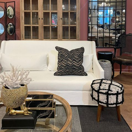 zita stool in natural and black