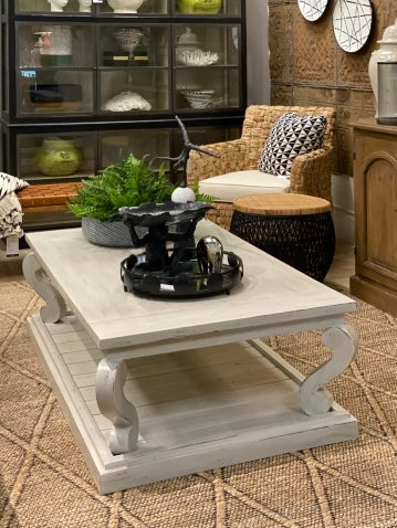 Block and chisel painted coffee table