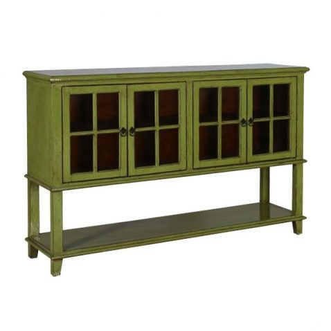 Green lacquered drinks sideboard with glass doors and bottom shelf
