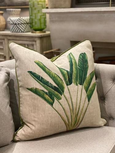 Hillhouse scatter cushion banana leaf fan on linen