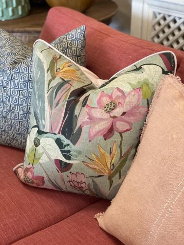 hillhouse scatter cushion flower on duck egg background